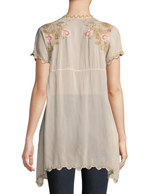 Image 2 of 3: Talum Embroidered Scalloped-Hem Tunic