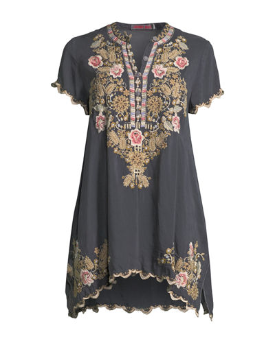 Talum Embroidered Scalloped-Hem Tunic, Plus Size