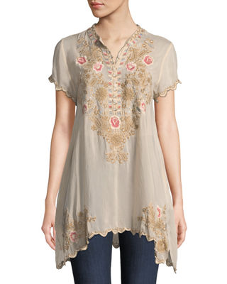 Johnny Was Talum Embroidered Scalloped-Hem Tunic, Plus Size