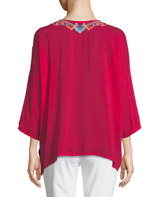 Image 2 of 3: Valeria Embroidered V-Neck Blouse, Plus Size