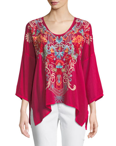 Valeria Embroidered V-Neck Blouse, Plus Size