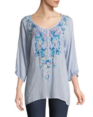 Johnny Was Blue Moon Embroidered Blouse, Plus Size