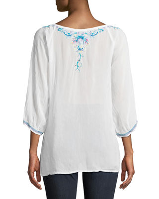Image 2 of 3: Blue Moon Embroidered Blouse