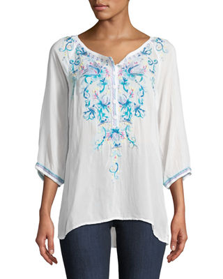 Image 1 of 3: Blue Moon Embroidered Blouse