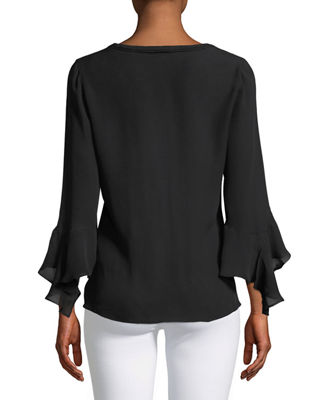Image 2 of 2: Shia Bell-Sleeve Silk Blouse