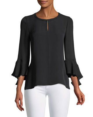 Image 1 of 2: Shia Bell-Sleeve Silk Blouse
