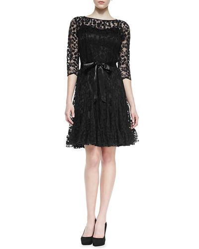 3/4-Sleeve Lace Overlay Cocktail Dress
