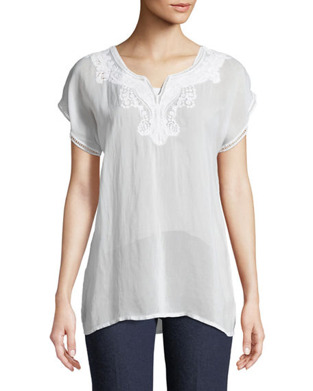 Johnny Was  NAVI EMBROIDERED TOP