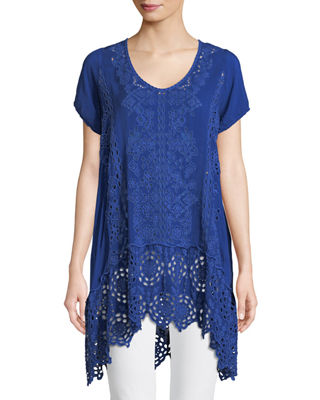 Kaylyn Long Eyelet Tunic, Plus Size