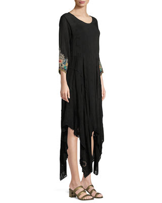 Johnny Was Kobi Eyelet-Hem Georgette Dress