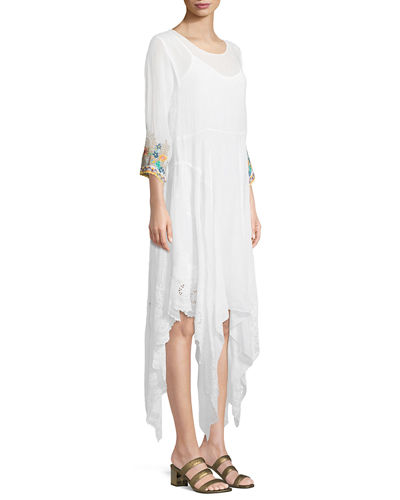 Kobi Eyelet-Hem Georgette Dress