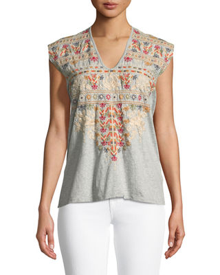 Allya Embroidered T-Shirt, Plus Size