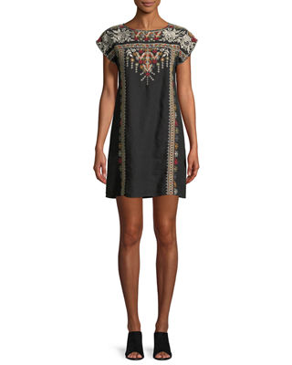 Image 1 of 4: Allya Embroidered Linen Tunic Dress