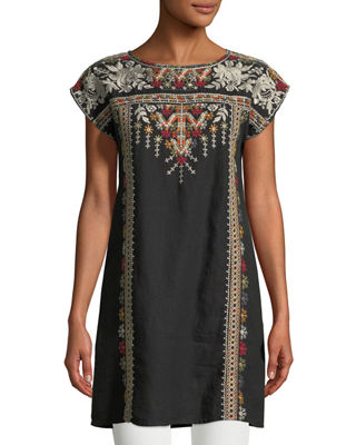 Image 3 of 4: Allya Embroidered Linen Tunic Dress, Plus Size
