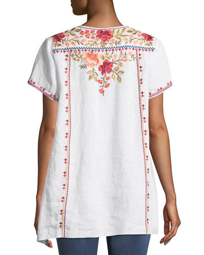 Libbie Embroidered Linen High-Low Top