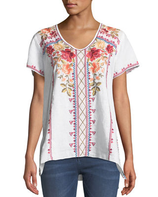 Libbie Embroidered Linen High-Low Top, Plus Size