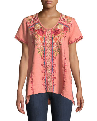 Johnny Was Libbie Embroidered Linen High-Low Top, Plus