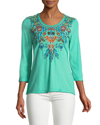 Johnny Was Izamal Embroidered-Yoke T-Shirt, Plus Size
