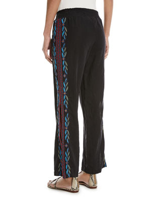 Image 2 of 2: Izamal Embroidered-Side Linen Pants, Plus Size