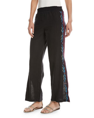 Izamal Embroidered-Side Linen Pants, Plus Size