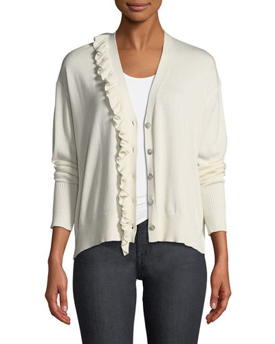 Tous Les Jours Gaetana Button-Front Cardigan with Ruffled Trim