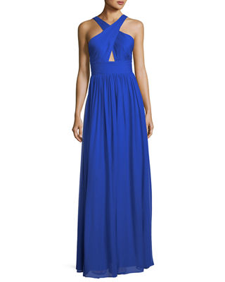 Pleated Silk Chiffon Halter-Neck Gown
