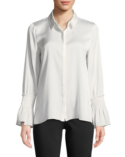Kobi Halperin Cala Ruffle-Cuff Silk-Blend Blouse and Matching