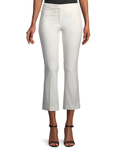Mid-Rise Bi-Stretch Kick-Flare Cropped Pants