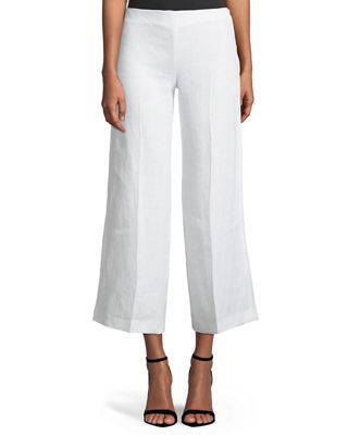 Terena B. Wide-Leg Integrate Linen Pants, White