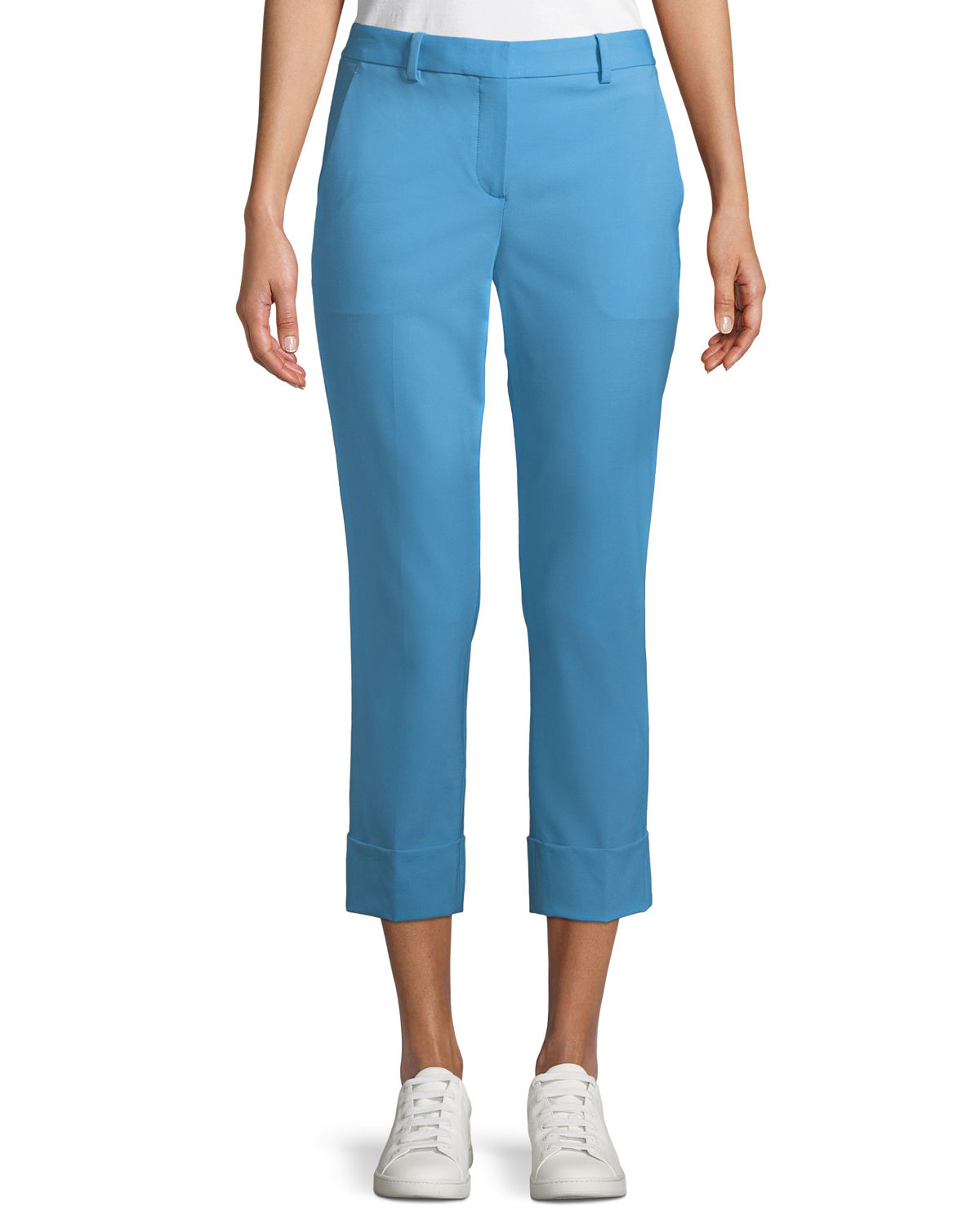 New Stretch-Wool Crop Cuff Straight-Leg Pants