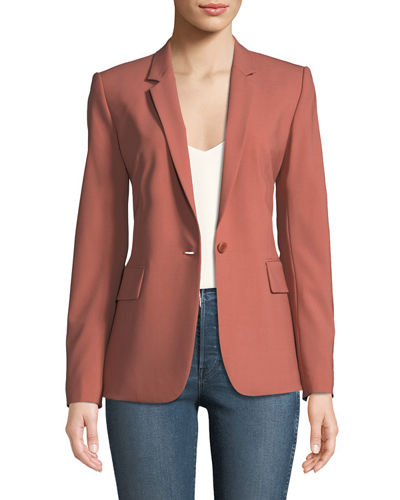 Essential One-Button Stretch-Wool Jacket