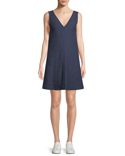V-Neck Sleeveless A-Line Integrate Linen Dress