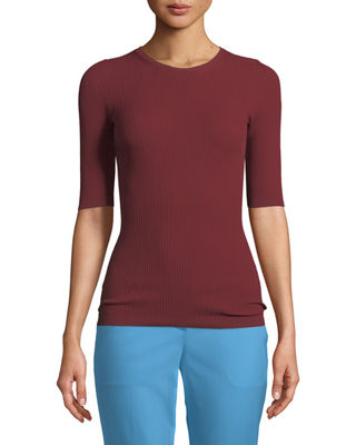 Crewneck Short-Sleeve Fitted Ribbed Top