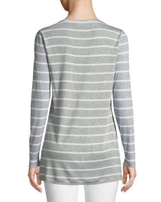 Image 2 of 3: Striped Featherweight-Jersey Long-Sleeve T-Shirt