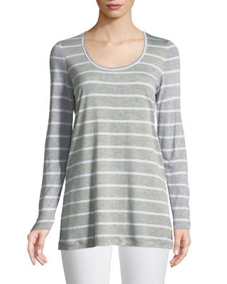 Image 1 of 3: Striped Featherweight-Jersey Long-Sleeve T-Shirt