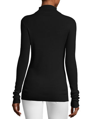 Image 2 of 2: Fine-Gauge Merino Wool Zip-Neck Sweater