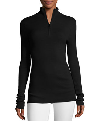 Image 1 of 2: Fine-Gauge Merino Wool Zip-Neck Sweater