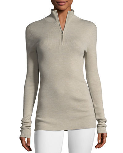 Fine-Gauge Merino Wool Zip-Neck Sweater