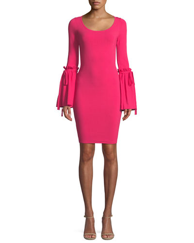 Milly Flare-Cuff Long-Sleeve Dress