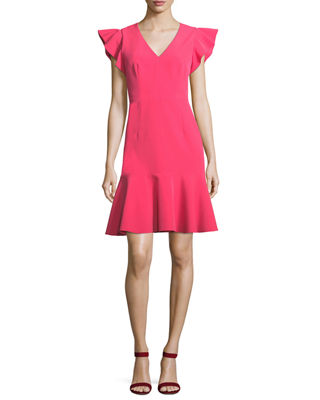 Milly Adelin Italian Cady Flutter-Sleeve Dress