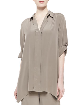 Go Silk Dolman-Sleeve Silk Tunic & Silk Wide-Leg
