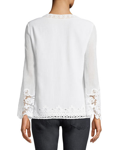 Mimi Embroidered-Inset Blouse