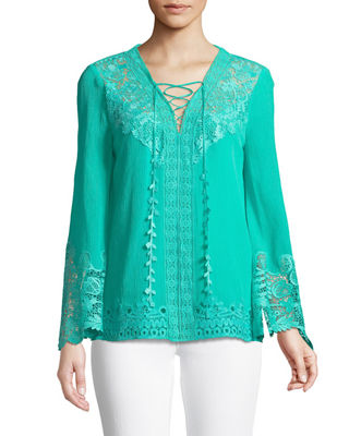 Kobi Halperin Mimi Embroidered-Inset Blouse