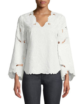 Demira Long-Sleeve Eyelet Top