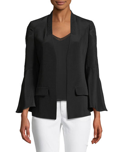 Jayleen Lace-Inset Open-Front Jacket