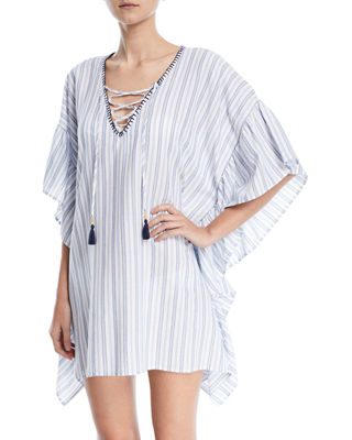 Lace-Up Striped Tunic With Blanket Stitch, White