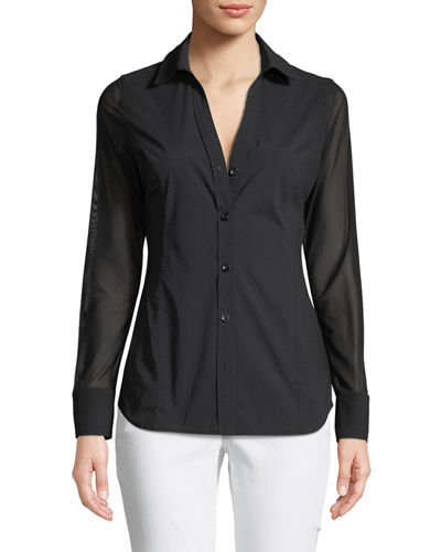 Beth Mesh-Sleeve Button-Front Shirt