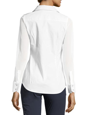 Image 2 of 2: Beth Mesh-Sleeve Button-Front Shirt