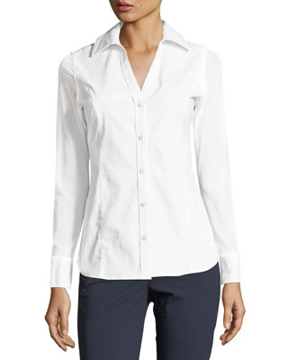 Image 1 of 2: Beth Mesh-Sleeve Button-Front Shirt