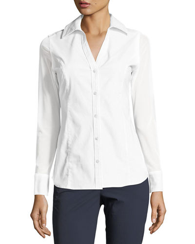 Anatomie Beth Mesh-Sleeve Button-Front Shirt